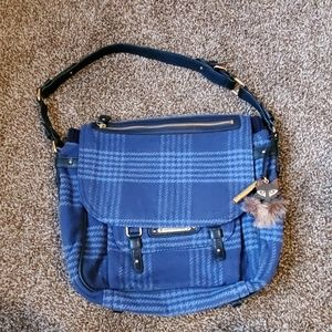 Juicy Couture Blue Plaid Wool Tote